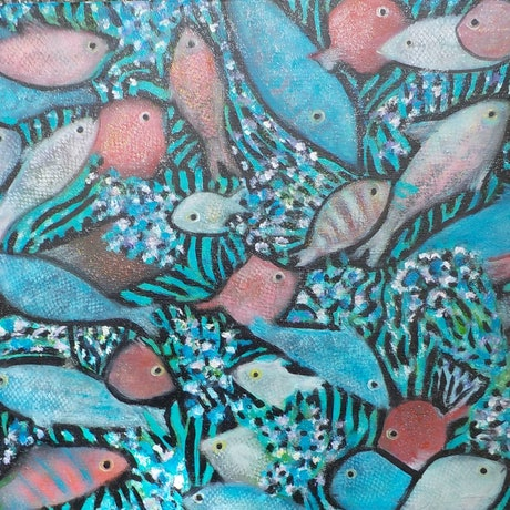 (CreativeWork)  Fish on the reef by Catherine Walker. Acrylic Paint. Shop online at Bluethumb.