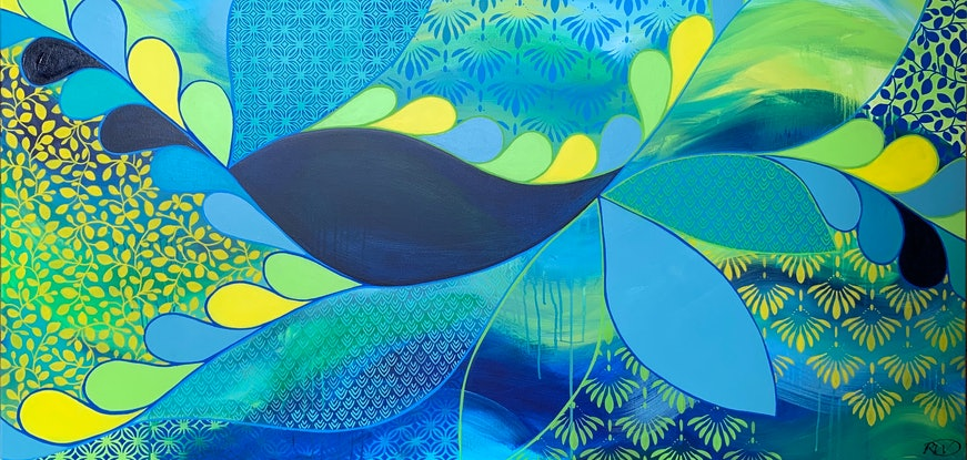 (CreativeWork) Meander Blue by Rebecca Warr. Acrylic Paint. Shop online at Bluethumb.