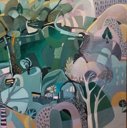 (CreativeWork) Abstract Landscape -The Green Lake by Susan Trudinger. Acrylic Paint. Shop online at Bluethumb.