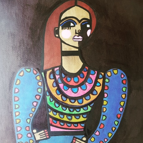 (CreativeWork) Frida Kahlo in her party dress  by jane ruggiero. Drawings. Shop online at Bluethumb.