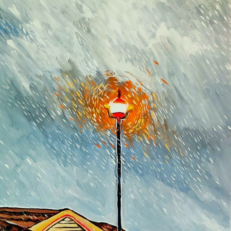 (CreativeWork) Streetlight  by Rebecca Read. Oil Paint. Shop online at Bluethumb.
