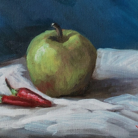 (CreativeWork) Apple and chillies - still life  by Christopher Vidal. Oil Paint. Shop online at Bluethumb.
