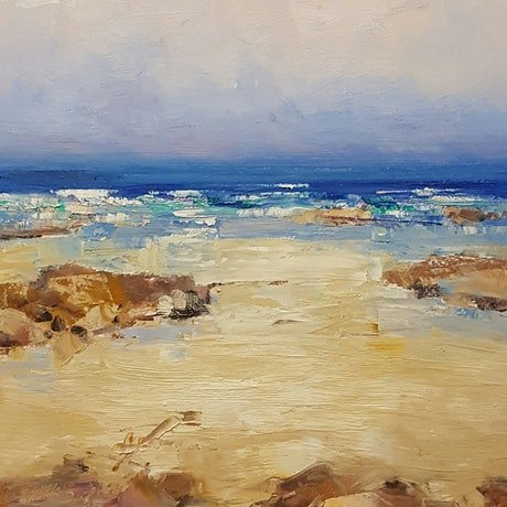 (CreativeWork) Rockpools by Barry Back. Oil Paint. Shop online at Bluethumb.