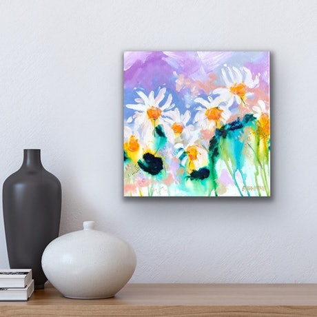 (CreativeWork) Daisy Kiss Me by Jen Shewring. Acrylic Paint. Shop online at Bluethumb.