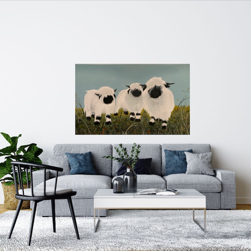 (CreativeWork) The Black Nose Sheep by Tom Roso. Acrylic Paint. Shop online at Bluethumb.