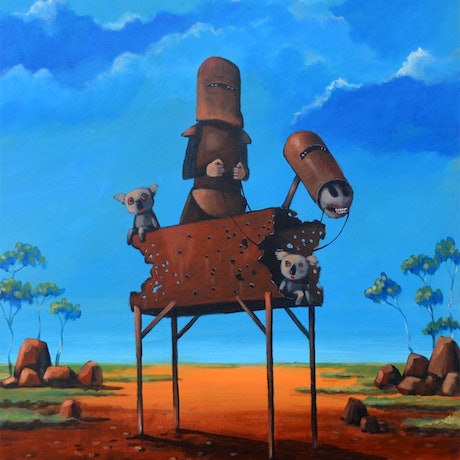 (CreativeWork) Ned Kelly and angry koalas by Max Horst  Sokolowski. Acrylic Paint. Shop online at Bluethumb.