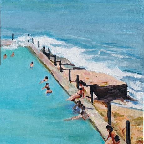(CreativeWork) Pool Swimmers - McIvers Baths Coogee by TeMoana .. Acrylic Paint. Shop online at Bluethumb.