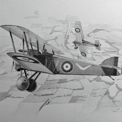 (CreativeWork) Squadron Australian Flying Corps Sopwith  Camels by Steve Heyen. Drawings. Shop online at Bluethumb.