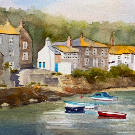 (CreativeWork) Cornwall by Shelly Du. Watercolour Paint. Shop online at Bluethumb.