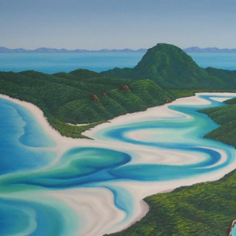 (CreativeWork) Whitehaven Beach and Hill Inlet, Whitsundays by Elena Parashko. Oil Paint. Shop online at Bluethumb.