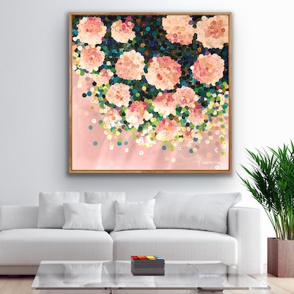 (CreativeWork) Rosa Marie Antoinette 122 x122 framed large  textured abstract on linen by Sophie Lawrence. Acrylic Paint. Shop online at Bluethumb.