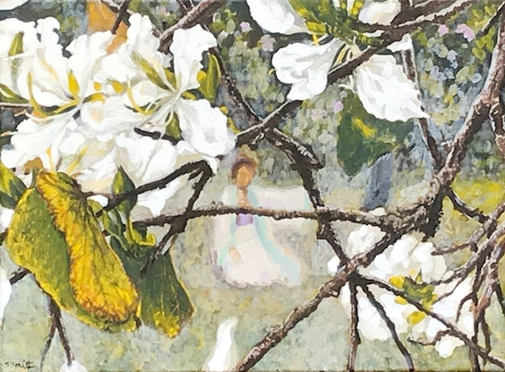 (CreativeWork) Looking through bauhinias by Sue Smith. Acrylic Paint. Shop online at Bluethumb.