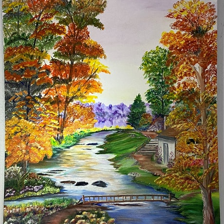 (CreativeWork) Autumn by the River by Mary Preston. Oil Paint. Shop online at Bluethumb.