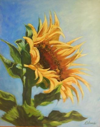 (CreativeWork) Sunflower by Anne Strambi. Oil Paint. Shop online at Bluethumb.