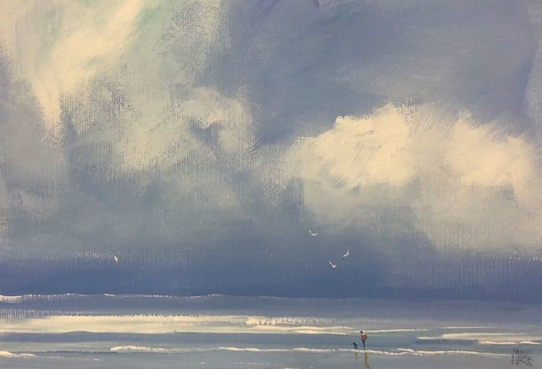 (CreativeWork) Storm walk - seascape by Mike Barr. Acrylic Paint. Shop online at Bluethumb.