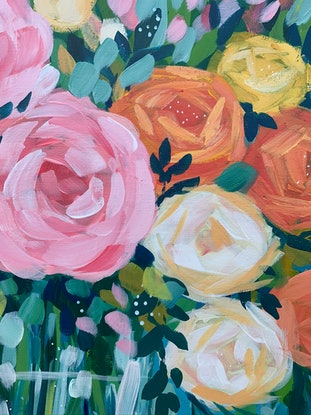 (CreativeWork) Mostly Roses by Clair Bremner. Acrylic Paint. Shop online at Bluethumb.