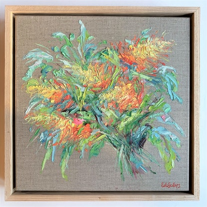 (CreativeWork) Native Bouquet- Framed Australian flora on linen by Eve Sellars. Oil Paint. Shop online at Bluethumb.