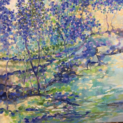 (CreativeWork) Jacaranda reflections  by sue bannister. Oil Paint. Shop online at Bluethumb.