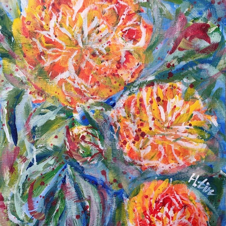 (CreativeWork) Like Our Summers - Marigold - Framed Ready To Hang  by HSIN LIN. Acrylic Paint. Shop online at Bluethumb.