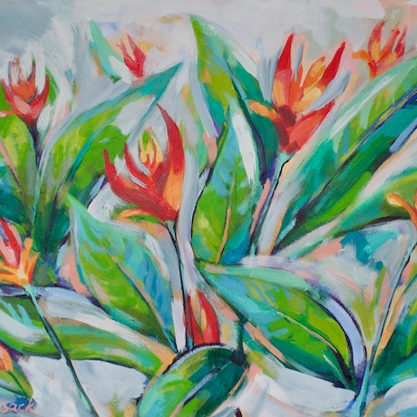 (CreativeWork) Swaying Heliconia Flowers by Katherine Cusack. Acrylic Paint. Shop online at Bluethumb.