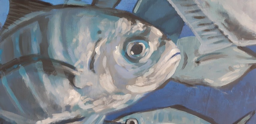 (CreativeWork) Fish Painting - Schools out by Naomi Veitch. Acrylic Paint. Shop online at Bluethumb.