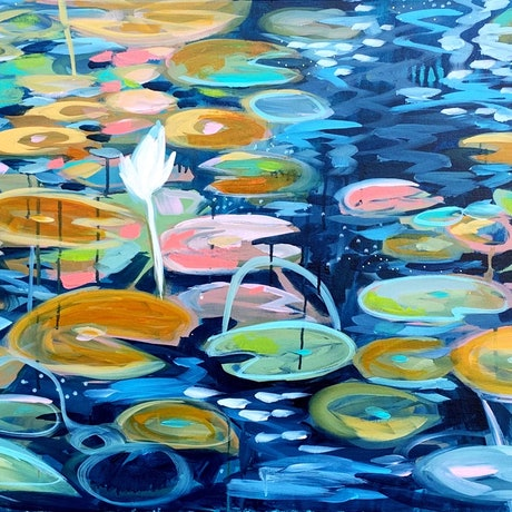 (CreativeWork) Deep Water Garden by Clair Bremner. Acrylic Paint. Shop online at Bluethumb.