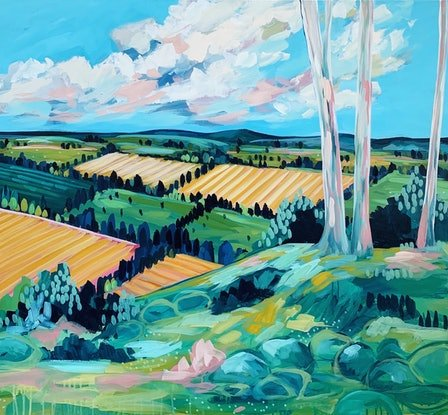 (CreativeWork) The Lookout by Clair Bremner. Acrylic Paint. Shop online at Bluethumb.