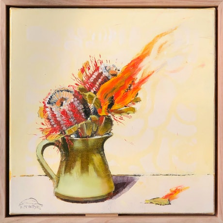 (CreativeWork) Home fires (framed original) by kirsty mcintyre. Oil Paint. Shop online at Bluethumb.