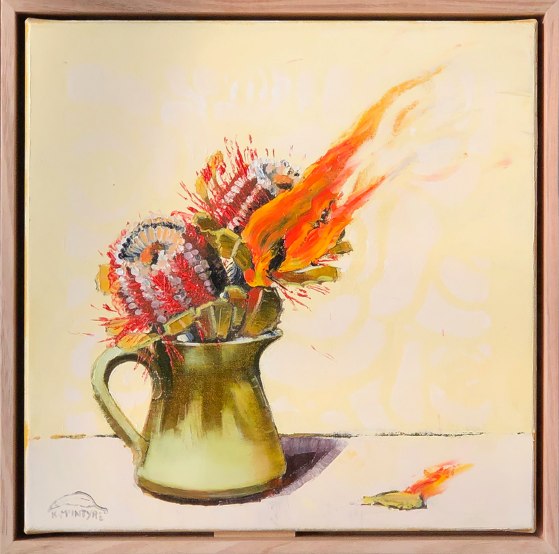 (CreativeWork) Home fires (framed original, sale price) by kirsty mcintyre. Oil Paint. Shop online at Bluethumb.