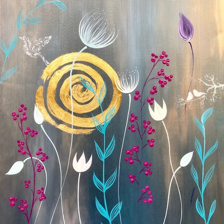 "(CreativeWork) ""Botanica"" Modern floral painting by Debra Ryan. Mixed Media. Shop online at Bluethumb."