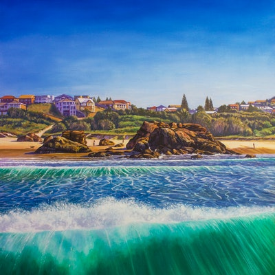 (CreativeWork) On Top Of A Wave, Lighthouse Beach, Port Macquarie, NSW  by Nicola McLeay. Oil Paint. Shop online at Bluethumb.