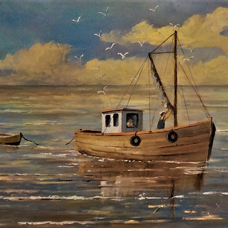 (CreativeWork) Coming Home by Viv Gregory. Oil Paint. Shop online at Bluethumb.