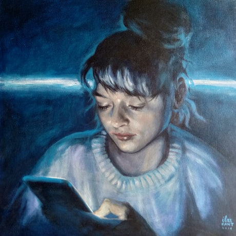 (CreativeWork) Late night checking by Ilze Cant. Acrylic Paint. Shop online at Bluethumb.