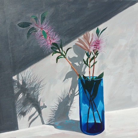 (CreativeWork) The blue glass by Sandra Jenkins. Acrylic Paint. Shop online at Bluethumb.