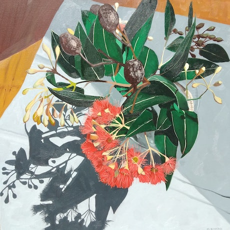 (CreativeWork) Red gum, birds eye view by Sandra Jenkins. Oil Paint. Shop online at Bluethumb.