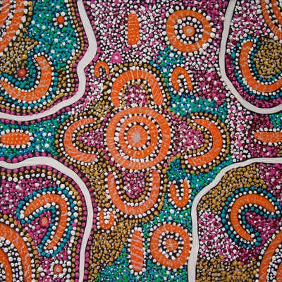 (CreativeWork) ELDERS MEETING OF THE DREAMING 2 by Cynthia Farr BARUNGGUM. Acrylic Paint. Shop online at Bluethumb.