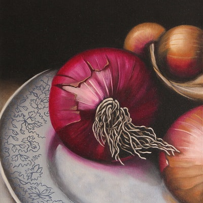 (CreativeWork) Onion study by Barbara Harkness. Oil Paint. Shop online at Bluethumb.