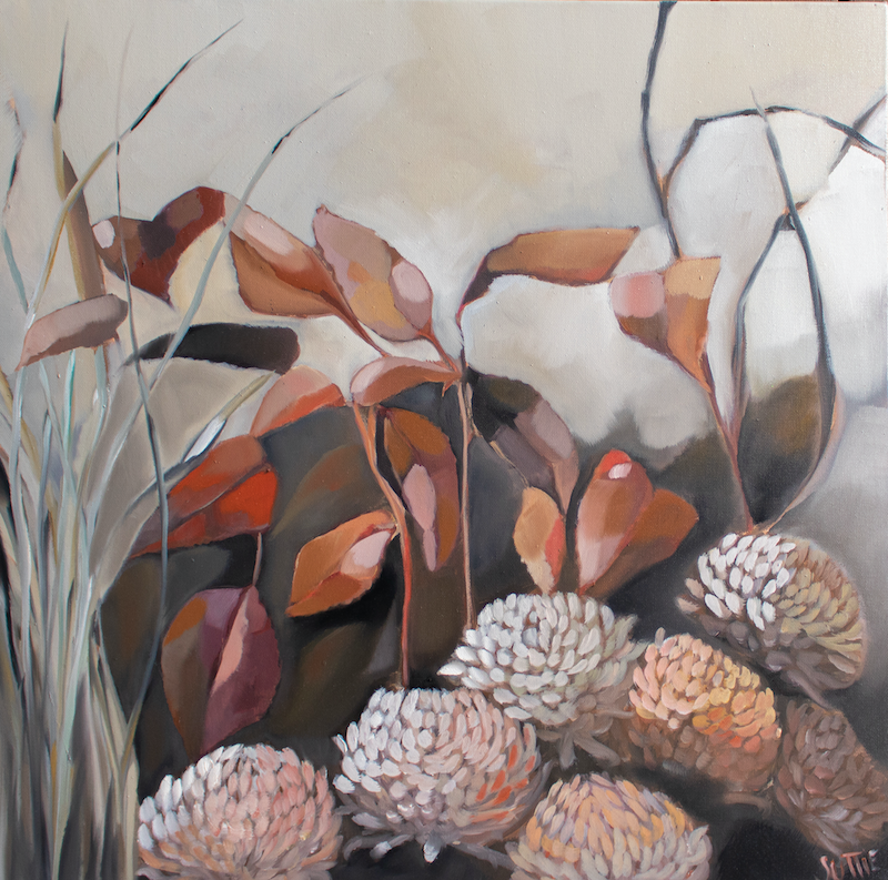 (CreativeWork) Floral Reef by Sam Suttie. Oil Paint. Shop online at Bluethumb.