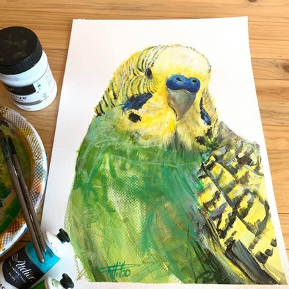 (CreativeWork) Budgie by Rebecca Hill. Mixed Media. Shop online at Bluethumb.