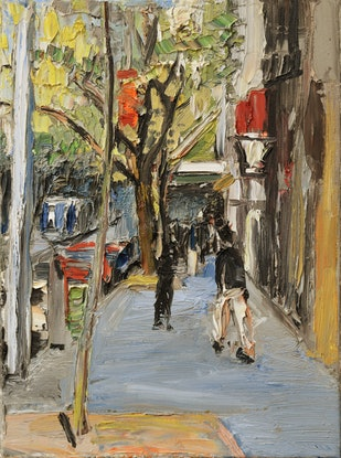 (CreativeWork) Collins St, (the Paris End) by Roland Weight. Oil Paint. Shop online at Bluethumb.