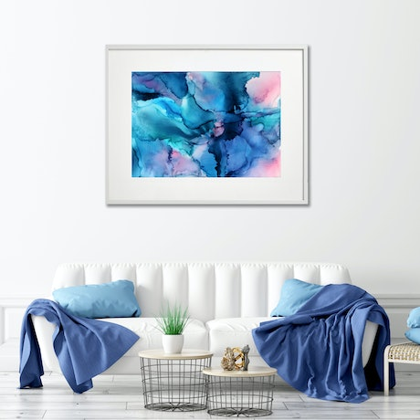 (CreativeWork) Shades of Lavender and Blue- original art 56x76cm on paper -needs framing  by __pete+chrissy angelheart. Mixed Media. Shop online at Bluethumb.