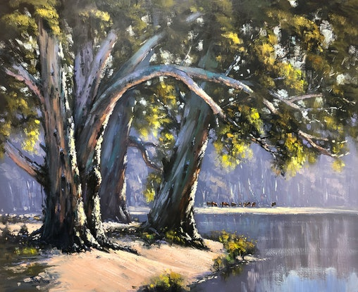 (CreativeWork) Thre Trees On The River by John Rice. Oil Paint. Shop online at Bluethumb.