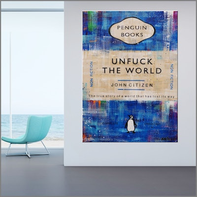 (CreativeWork) Unfuck in Blue 140cm x 100cm vintage book '1984' by George Orwell book pages on linen canvas Franko by _Franko _. Mixed Media. Shop online at Bluethumb.