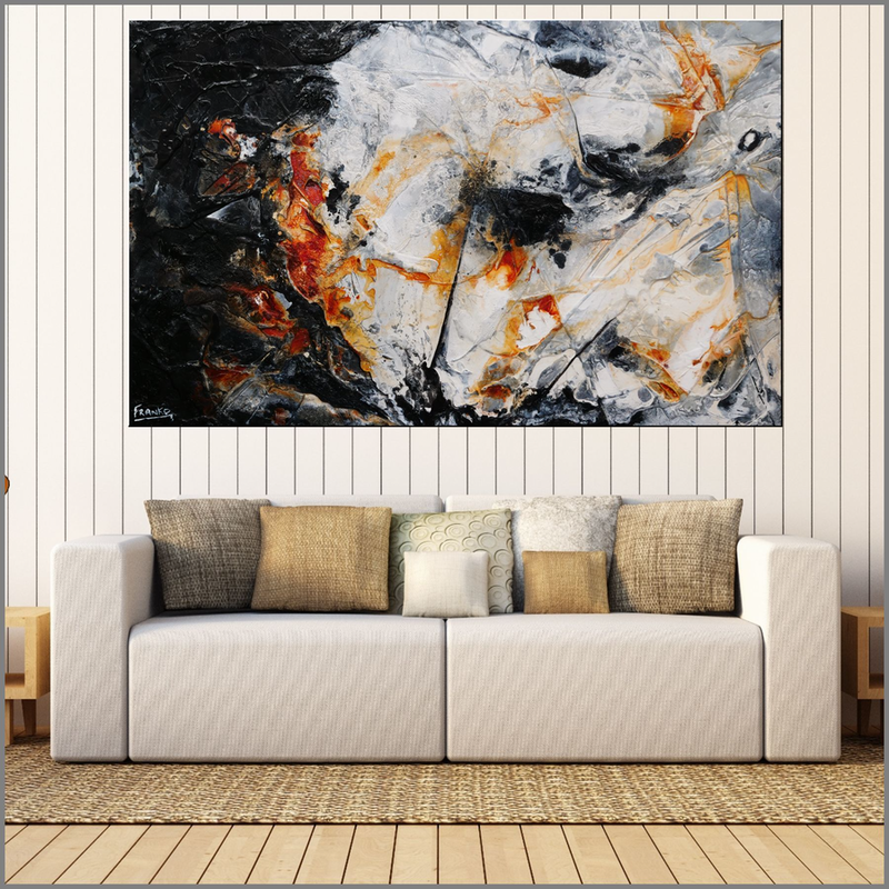 (CreativeWork) Oxide Noir  160cm x 100cm  Black Grey Rust White Acrylic Abstract Textured With Gloss Finish by _Franko _. Mixed Media. Shop online at Bluethumb.