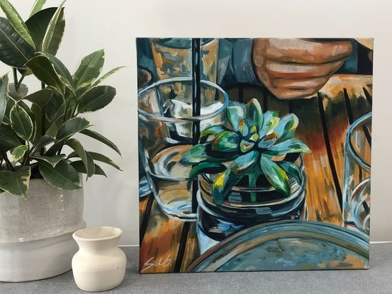 (CreativeWork) Brunch at Brucey's by Sarah Abbott. Acrylic Paint. Shop online at Bluethumb.