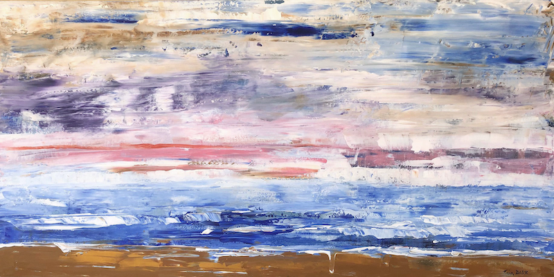 (CreativeWork) Ocean Sunset by Tina Barr. Acrylic Paint. Shop online at Bluethumb.
