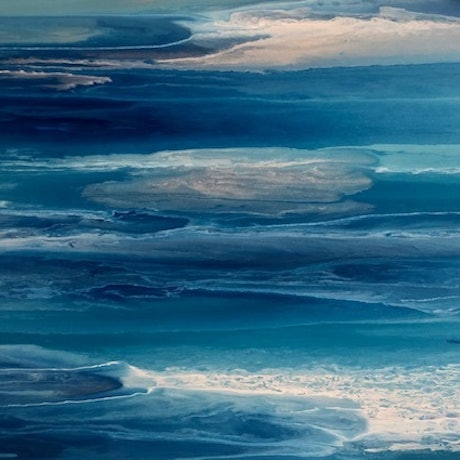 (CreativeWork) Ripples Abstract Coastal Artwork by Debra Ryan. Mixed Media. Shop online at Bluethumb.