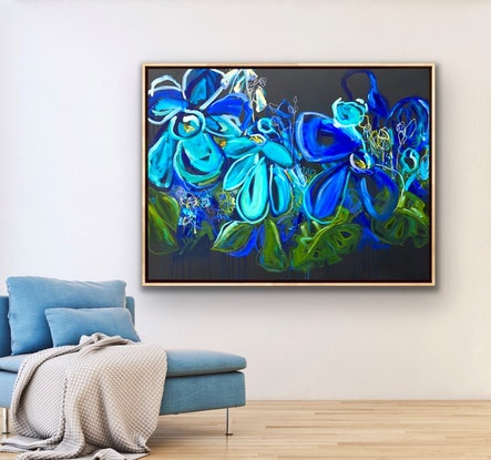 (CreativeWork) Wild Blue - Abstract Flowers by Jen Shewring. Oil Paint. Shop online at Bluethumb.