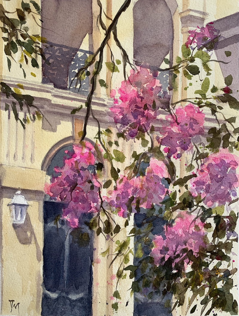 (CreativeWork) The last summer blossoms  by Shelly Du. Watercolour Paint. Shop online at Bluethumb.