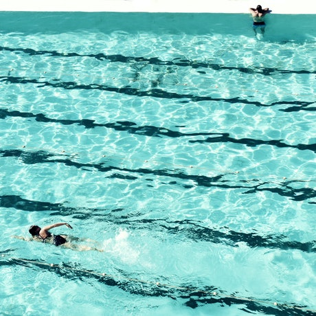 (CreativeWork) Swimmers and the pool Ed. 3 of 20 by Agus Gago. Photograph. Shop online at Bluethumb.